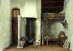 Irish Croft Cottage, circa 1500 - Room box by Walter Vaughn. Think of how toasty it would be in bed if there was a fire warming up that wall.