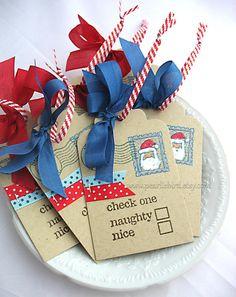 Naughty or Nice Twist Tie Kraft Holiday Gift by pearliebird
