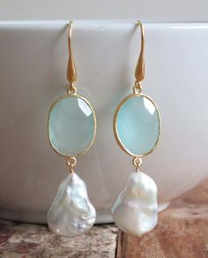 'Suki' 18K Gold Plated Earrings: Aqua Chalcedony & Pearl. www.eight5two.com