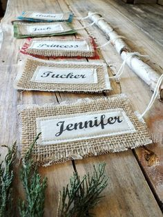 NAME TAGS BURLAP Collection Christmas Colors by TiddlywinkDesign