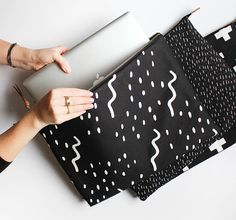 Modern Laptop Sleeve  NOW IN 13 MACBOOK size Waves by ZanaProducts