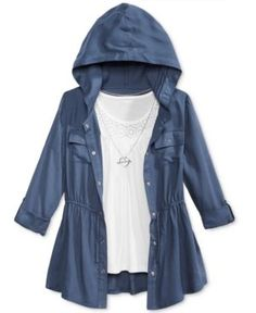 Beautees 3-Pc. Hooded Jacket, Tank Top & Necklace Set, Big Girls (7-16) - Blue XL