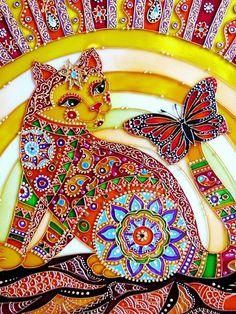 """Colorful Cat"" Stained Glass Painting ~ by St. Petersburg artist Iris"