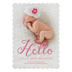 For Baby Girl or Boy Large Baby Announcement with 7 Photo Double Sided with Postcard Back Multi-colored polka dots can be any colors