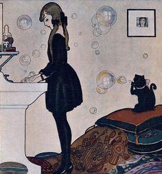 by Spanish illustrator Rafael de Penagos (1889–1954) -- girl in black + black cat + bubbles
