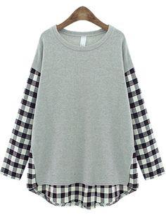 Camiseta suelta de gris tartán de contraste con larga manga 19.98