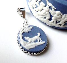 Broken China Jewelry, Dog Necklace Dog Lover Gift, Dog Pendant, Wedgwood Jasper Ware, Dog Necklace, OOAK