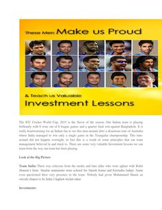 Investment lessons that we can learn from India's journey in ICC World Cup, 2015