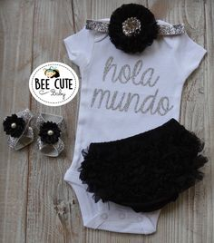 9b140bbde Hola Mundo Baby Newborn Girl Coming Home Outfit - Baby Girl Tutu Black  Bloomer-New Born Headband & Sandals.Perfect Gift for Baby Shower. by  beecutebaby on ...