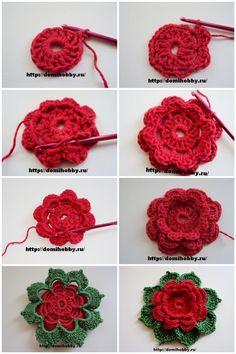 Best 12 How to Crochet Folded 8 Petals Flower – SkillOfKing. Crochet Leaf Patterns, Crochet Motifs, Crochet Squares, Crochet Designs, Crochet Flower Tutorial, Crochet Instructions, Crochet Flowers, Crochet Leaves, Crochet Crafts