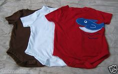 3 Garanimals Baby Boys Onesies - Appliqued Dinosaur/Octopus/Whale -SZ 6-9mo - Sold June 16, 2013
