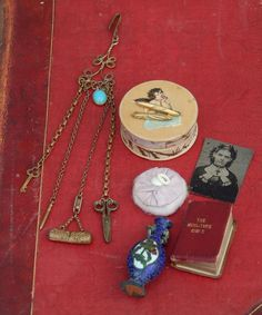 Antique chatelaine + accessories for French fashion. Now available in my Ruby Lane store-Kim's Doll Gems