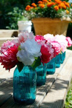 Crepe Paper Flowers - DIY ---Do flowers solid white and the jars a different color for the kitchen table centerpiece maybe??