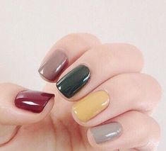50 Most Cutest and Easy Light Colorful Nails Idea – Each Nail with Different Colors for Beginner – The Best Nail Designs – Nail Polish Colors & Trends Dark Nails, Matte Nails, Acrylic Nails, Light Nails, Polish Nails, Gel Nail, Uv Gel, Coffin Nails, Nail Glue