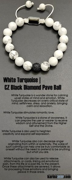 Idée et inspiration Bijoux :   Image   Description   #White #Turquoise is a stone of awareness. It can prepare the wearer to receive #wisdom. It also stimulates #romantic #love. #Black #Diamond #Pave #Ball #Macrame #Crown #Chakra #Beaded #giftsforhim #Yoga #Bracelet #Bracelets #Crystals #Energy ...