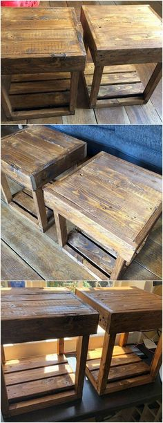 Genius DIY Ideas for Shipping Pallets Recycling: Do you have a wood pallet in your house when it comes to the furniture composition or the garden beauty areas? Wood pallet is one. Pallet Side Table, Wood Pallet Tables, Pallet Seating, Pallet Walls, Pallet Boards, Wood Pallets, Side Tables, Outdoor Pallet, Pallet Wood