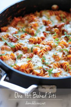 One Pot Baked Ziti - An incredibly easy, no-fuss baked ziti - even the pasta gets cooked right in the pan!