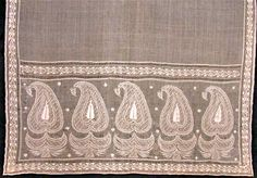 Shawl. Muslins cotton, white embroidery. India, 1800 -1815.