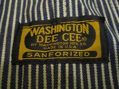 Vtg 50's Washington DEE CEE Denim Railroad Overalls Sanforized Jeans Near Mint