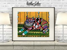 DIGITAL Print File - Cat ART Poster Folk Art Print Heather Galler (HG699)