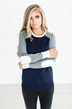 Long Drive Sweater - Navy- the elbow patches take this raglan to the next level! #mindymaesmarket #dreamcloset