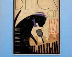 Black Cat Piano Jazz Bar artwork original graphic by geministudio