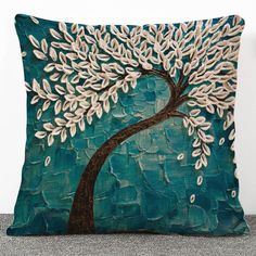 $7.28 Creative 3D Trees Pattern Flax Pillow Case(Without Pillow Inner)