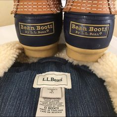 """L.L Bean Sherpa Lined Jean Jacket-Petite! Super cute L.L. Bean denim jacket. Heavy, Sherpa lined. Button front with metal buttons. Two slash front pockets, two button flap chest pockets and one zippered internal pocket. Cuffs can be turned back and are burgundy corduroy. Women's small petite. Sleeve length 23"""" Center back length 21"""" bust approximately 36"""". Perfect condition! Machine wash. L.L. Bean Jackets & Coats"""