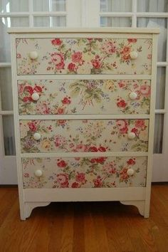 Maison Douce: Fabric dresser tutorial and cool finds! Nancy Bivins onto decoupage designs Decoupage Furniture, Repurposed Furniture, Shabby Chic Furniture, Furniture Projects, Furniture Making, Furniture Makeover, Painted Furniture, Diy Furniture, Decoupage Dresser