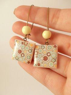 Dangle Polymer Clay Earrings Clear Resin Jewelry by PauwowHandmade, $15.00