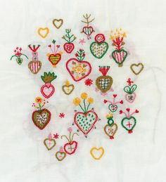 """walkyland: """" Embroidered hearts. """""""