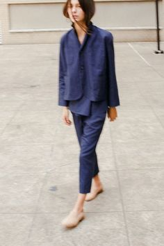 bernay jacket and wharf trousers in indigo canvas. caron callahan.