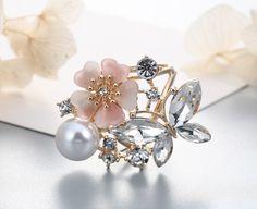 Prsteň na šatku a šál– motýľ s kvetom a perlami