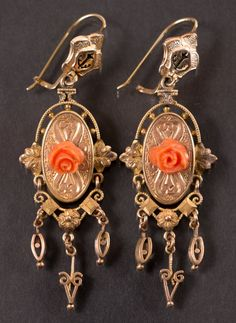 Victorian 14k Gold and Coral Earrings : Lot 18