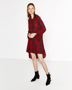 Image 1 of CHECKED AND FRILLED TUNIC from Zara
