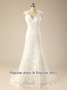 Wedding Dress/Lace Wedding Dress/V-neck Lace Wedding Dress/Backless Wedding Dress/Bridal Dress/Bridal Gown/A20 by populardress on Etsy