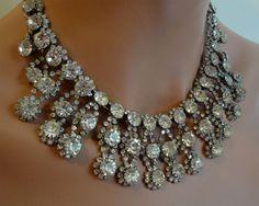 Rhinestone Statement Bridal Necklace Earrings Set formal and Hollywood elegant by AlexiBlackwellBridal, $399.00
