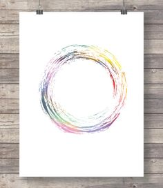 Zen circle color print contemporary brush by TheRedFinchPrint
