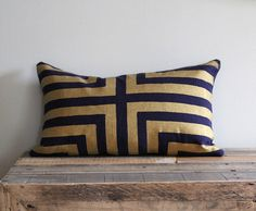 Doha in Metallic gold hand printed on navy blue organic hemp pillow cover 12x21