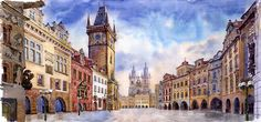 Watercolour Painting - Prague Old Town Square by Yuriy  Shevchuk