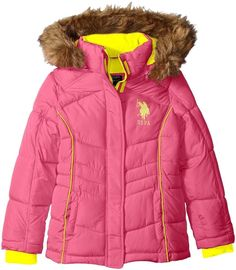 U.S. Polo Assn Toddler Girls Bubble Winter Warm Jacket with Fur Hood Black, Pink