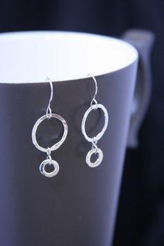 Fine Sterling Silver Double Drop Hoop Earrings by Creative Outlook on Etsy, $30.00