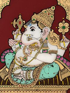 Ganesha Mysore Glass Painting 11.6in x 10.2in