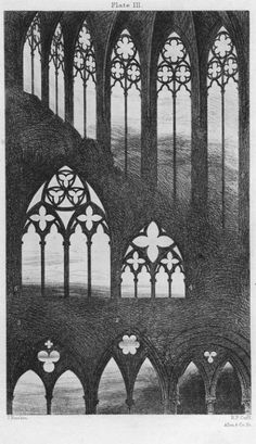 John Ruskin, The Seven Lamps of Architecture, 1855. Traceries from Caen, Bayeux, Rouen, and Beauvais. R. P. Cuff, engraver. Scanned by  George P. Landow for victorianweb.org.