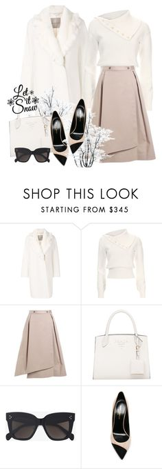 """""""Winter White"""" by elly-852 ❤ liked on Polyvore featuring Ermanno Scervino, Adeam, Jil Sander Navy, CÉLINE, Yves Saint Laurent, Winter, outfit and white"""