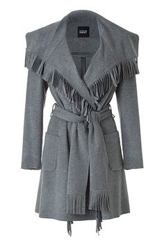 Grey Fringe Flannel Coat by STEFFEN SCHRAUT