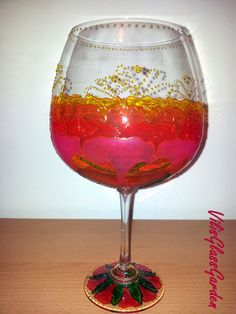 "Hand painted glass brandy ""Rose"""