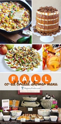 Fall Co-Ed Bridal Shower Menu | Are you planning a co-ed shower? Check out our Fall Co-ed Wedding Shower Menu. Minimum effort + maximum flavor...we've carefully selected delicious, easy dishes that are filled with autumn's best flavors!