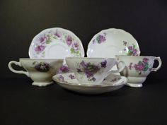 Vintage Set of 3 English Bone China Teacup and Saucer Sets with Violets - Instant Collection - by TimelessTreasuresbyM on Etsy