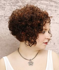 Formal Short Curly Hairstyle - side view View yourself with this Short Curly Formal Hairstyle - Dark Auburn Brunette Hair Color Long Layered Curly Hair, Short Natural Curly Hair, Short Curly Hairstyles For Women, Curly Bob Hairstyles, Short Hair Cuts, Short Hair Styles, Natural Hair Styles, Trendy Haircuts, Layered Hairstyles